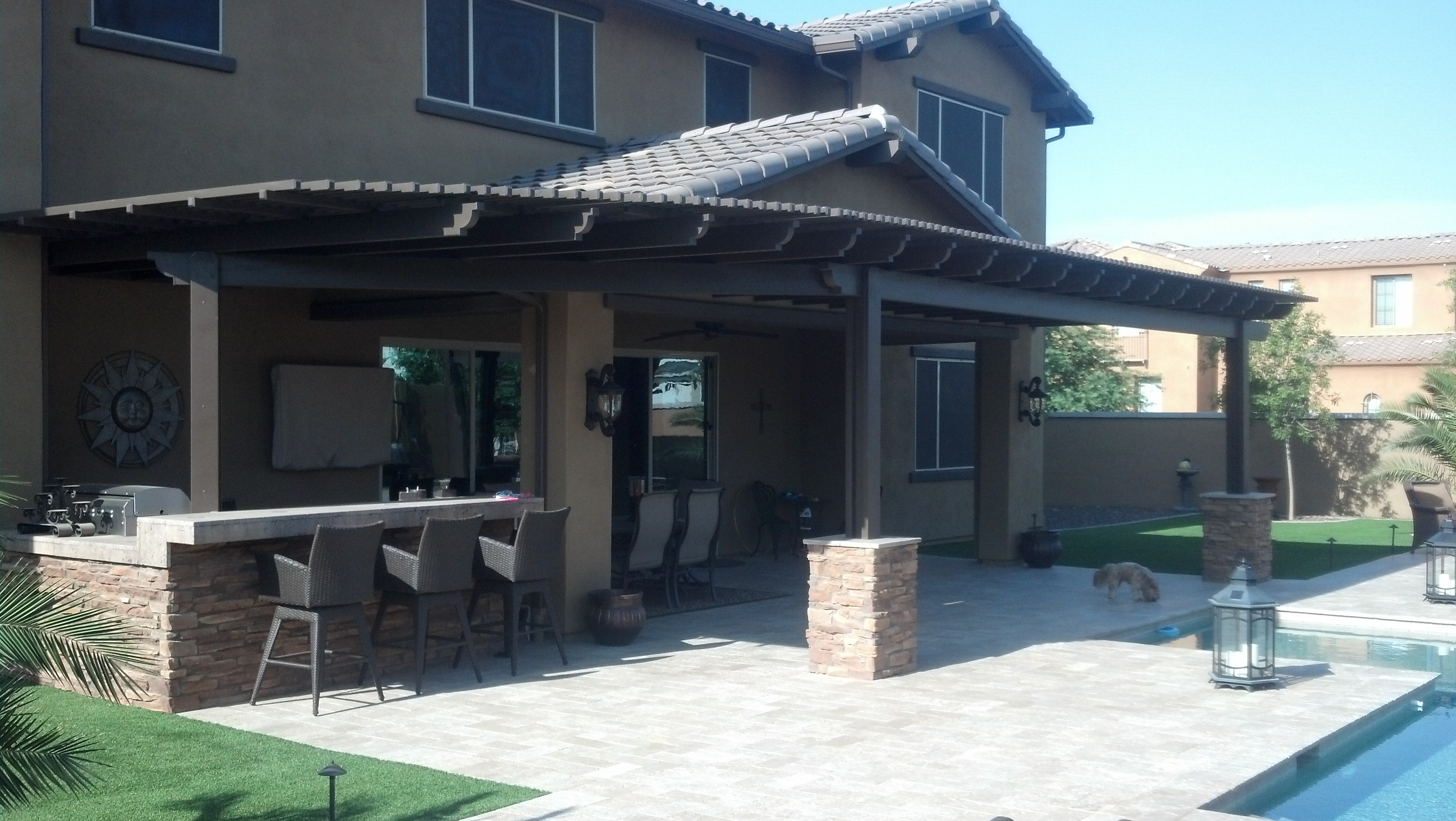 Alumawood Patio Covers Arizona Rain Gutters Shade Experts Pertaining To Proportions 3264 X 1840