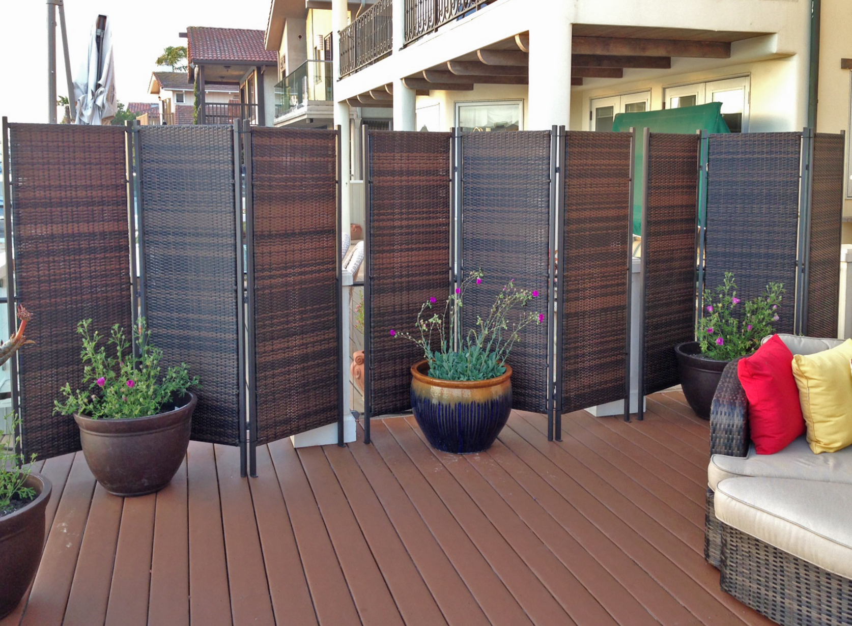 Attractive Foldable Wicker Wooden Privacy Screen Design With Pots For  Proportions 1674 X 1230