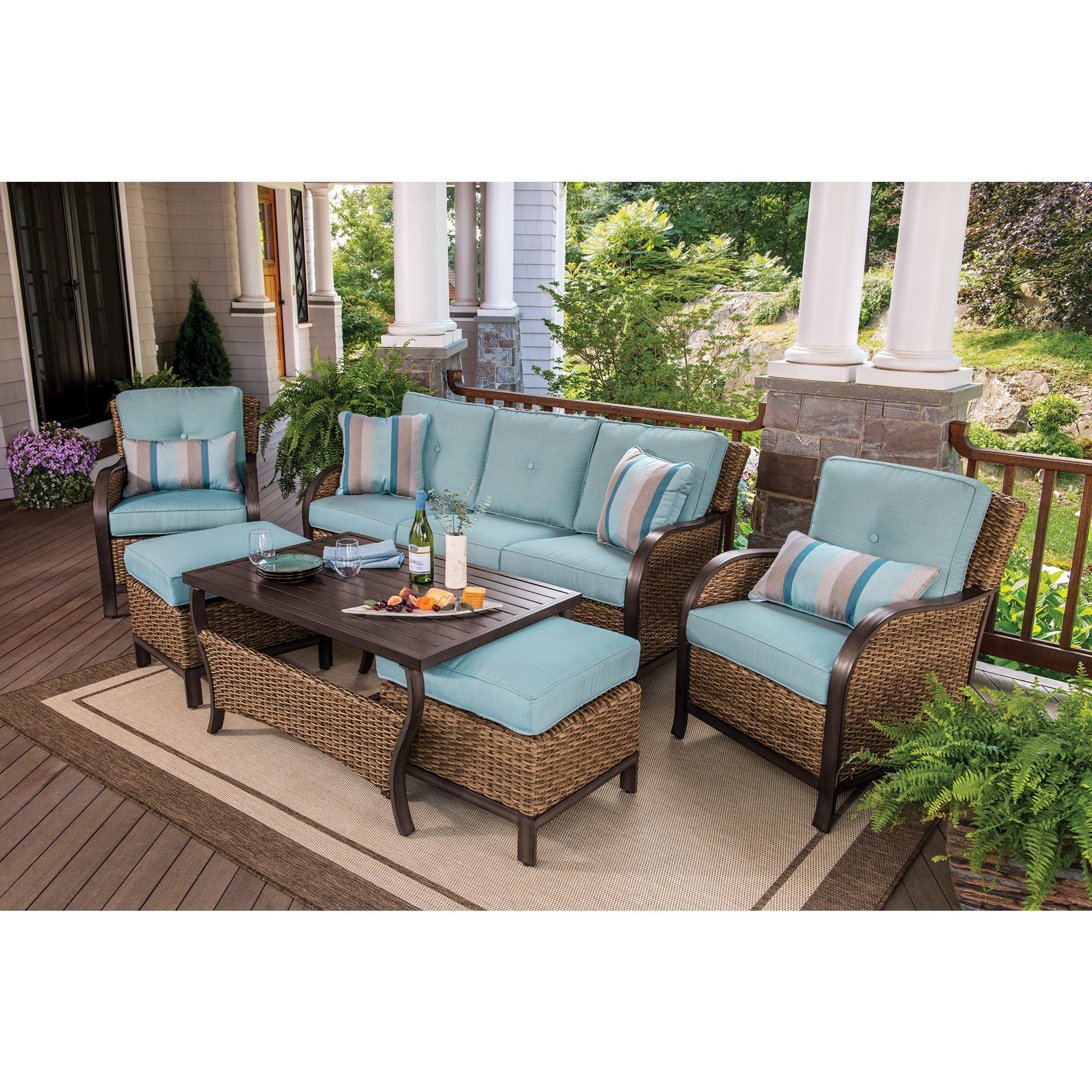 Merveilleux Berkley Jensen Nantucket 6 Piece Wicker Patio Set Bjs Wholesale Throughout  Measurements 2000 X 2000