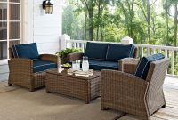Bradenton 4 Piece Outdoor Wicker Seating Set With Navy Cushions throughout sizing 1500 X 1500