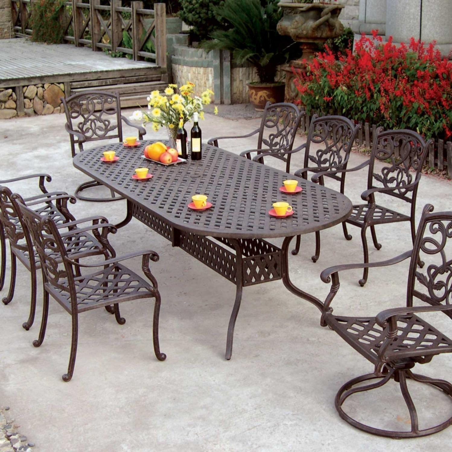 Darlee Santa Monica 9 Piece Cast Aluminum Patio Dining Set With Oval inside proportions 1498 X 1498