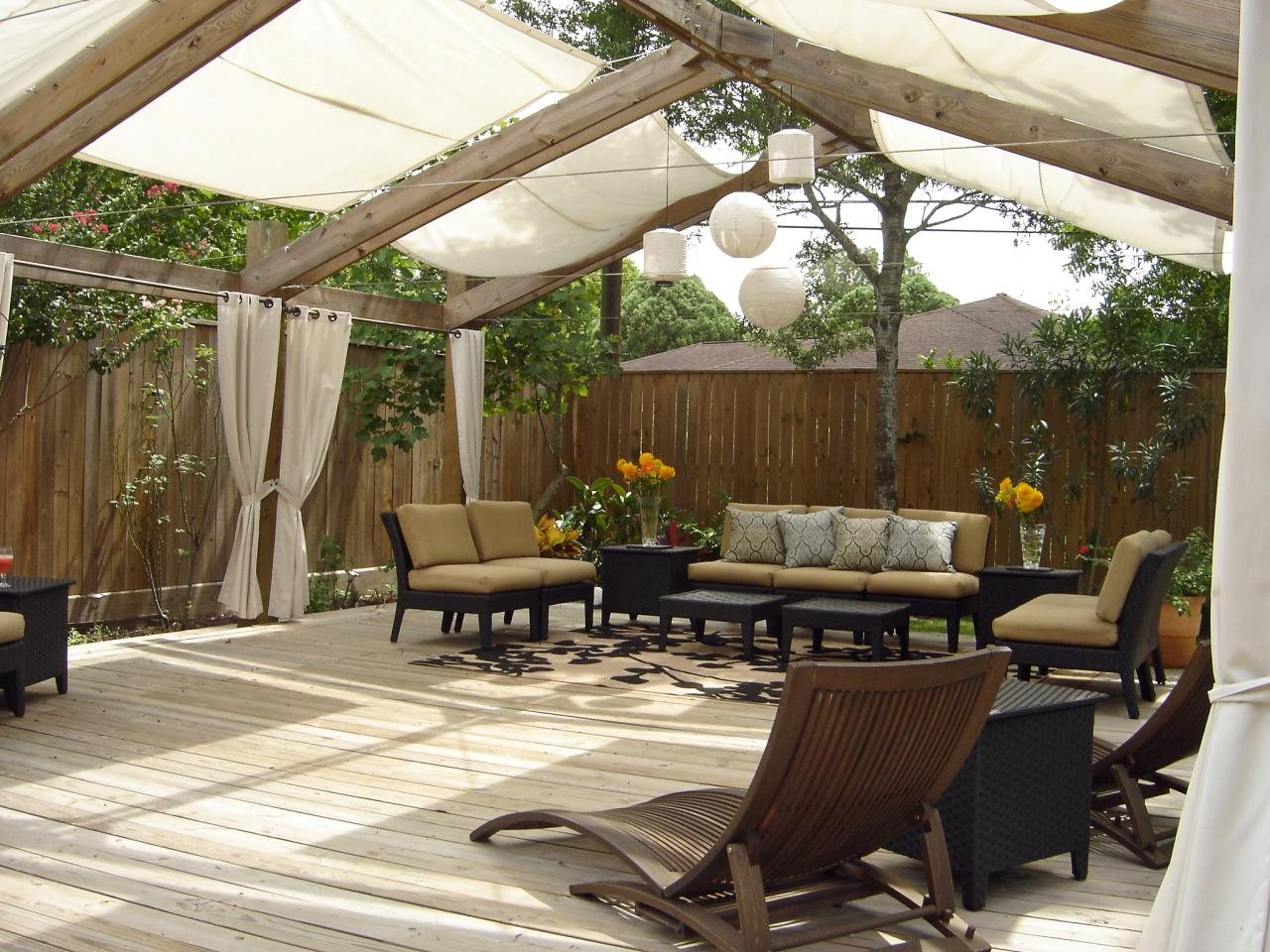 Exterior Outdoor Patio Shades And White Curtains Over On Brown Inside  Dimensions 1280 X 960