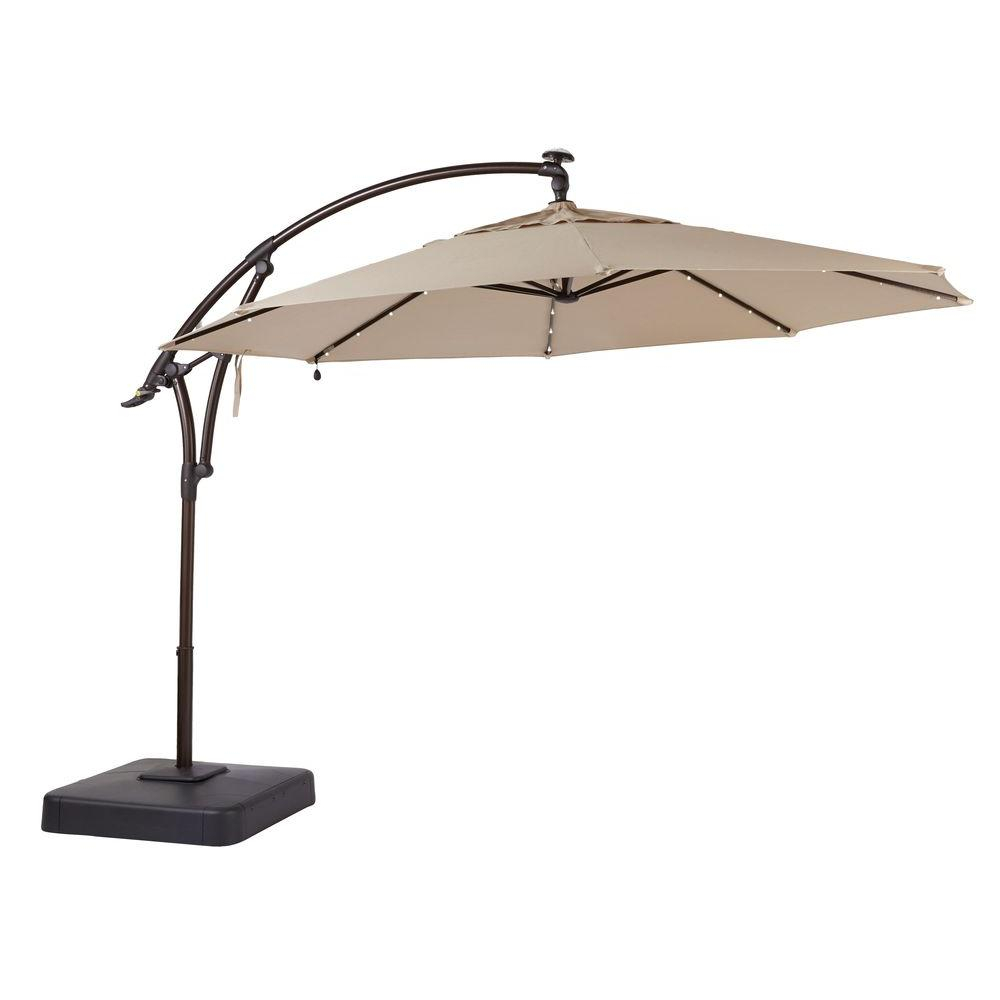 Hampton Bay 11 Ft Led Offset Patio Umbrella In Sunbrella Sand Regarding  Sizing 1000 X 1000