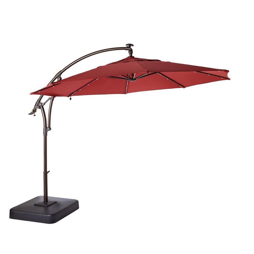Beau Hampton Bay 11 Ft Led Round Offset Patio Umbrella In Chili Red Pertaining  To Size 1000