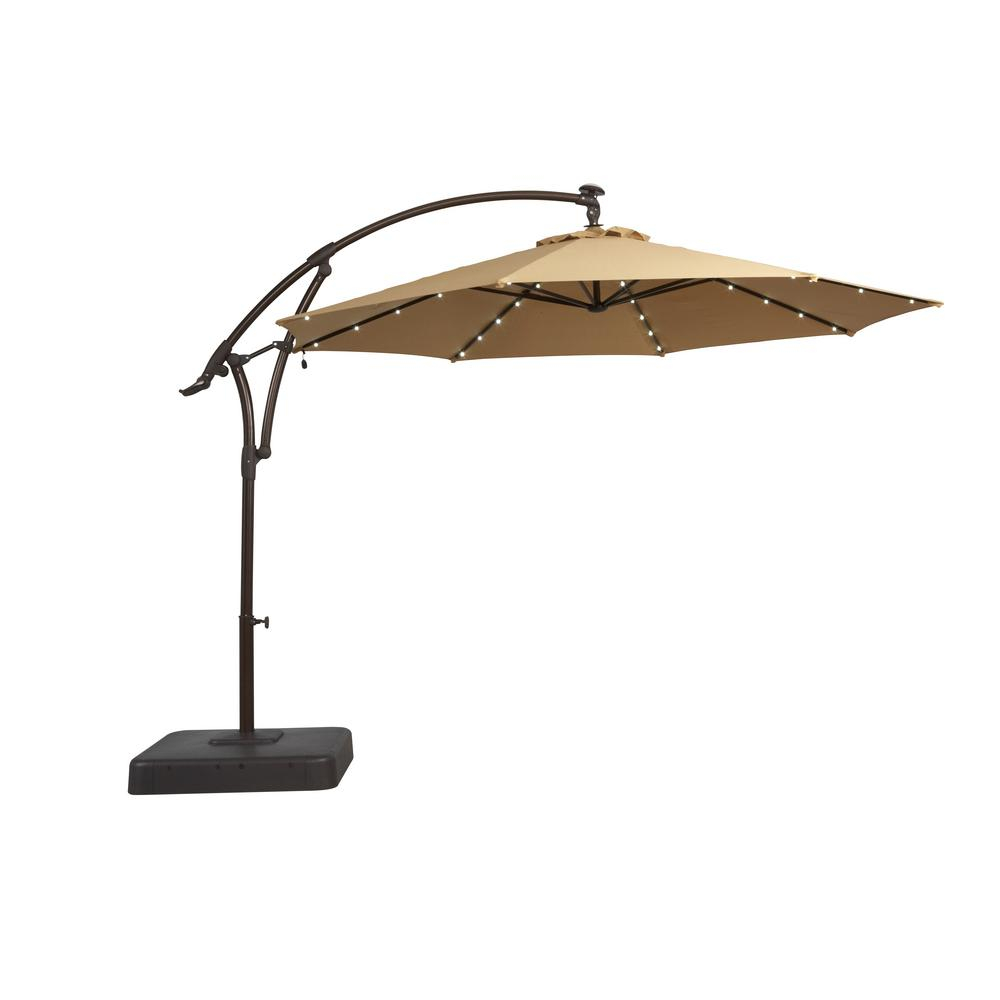 Hampton Bay 11 Ft Solar Offset Patio Umbrella In Cafe Yjaf052 Cafe regarding proportions 1000 X 1000