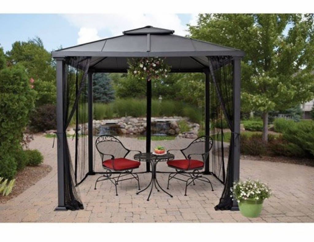 Hard Top Gazebo Metal Frame Canopy Mosquito Netting 8 X 8 Outdoor With  Regard To Size