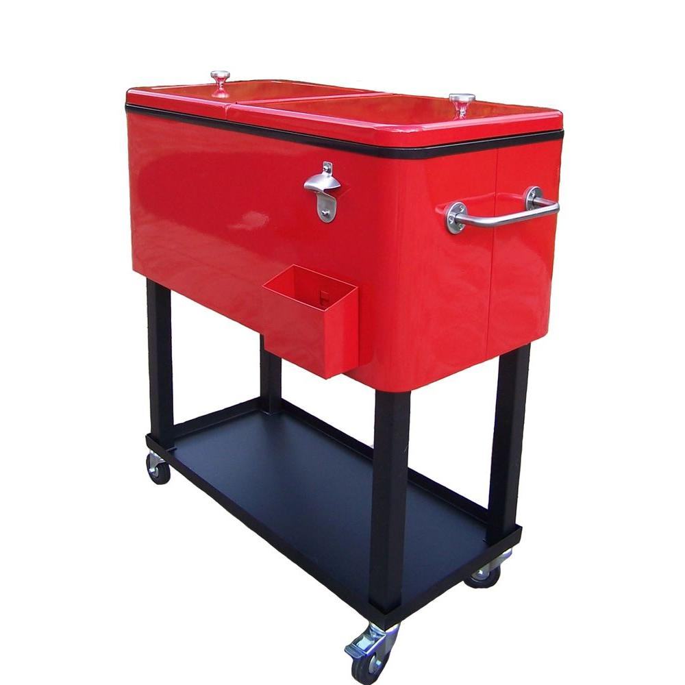 Oakland Living 80 Qt Steel Red Patio Cooler Cart 90010 Rd The with proportions 1000 X 1000