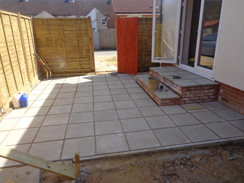 Patios Ideas Square Concrete Patio With Stones Walkway Regard To Dimensions 1024 X