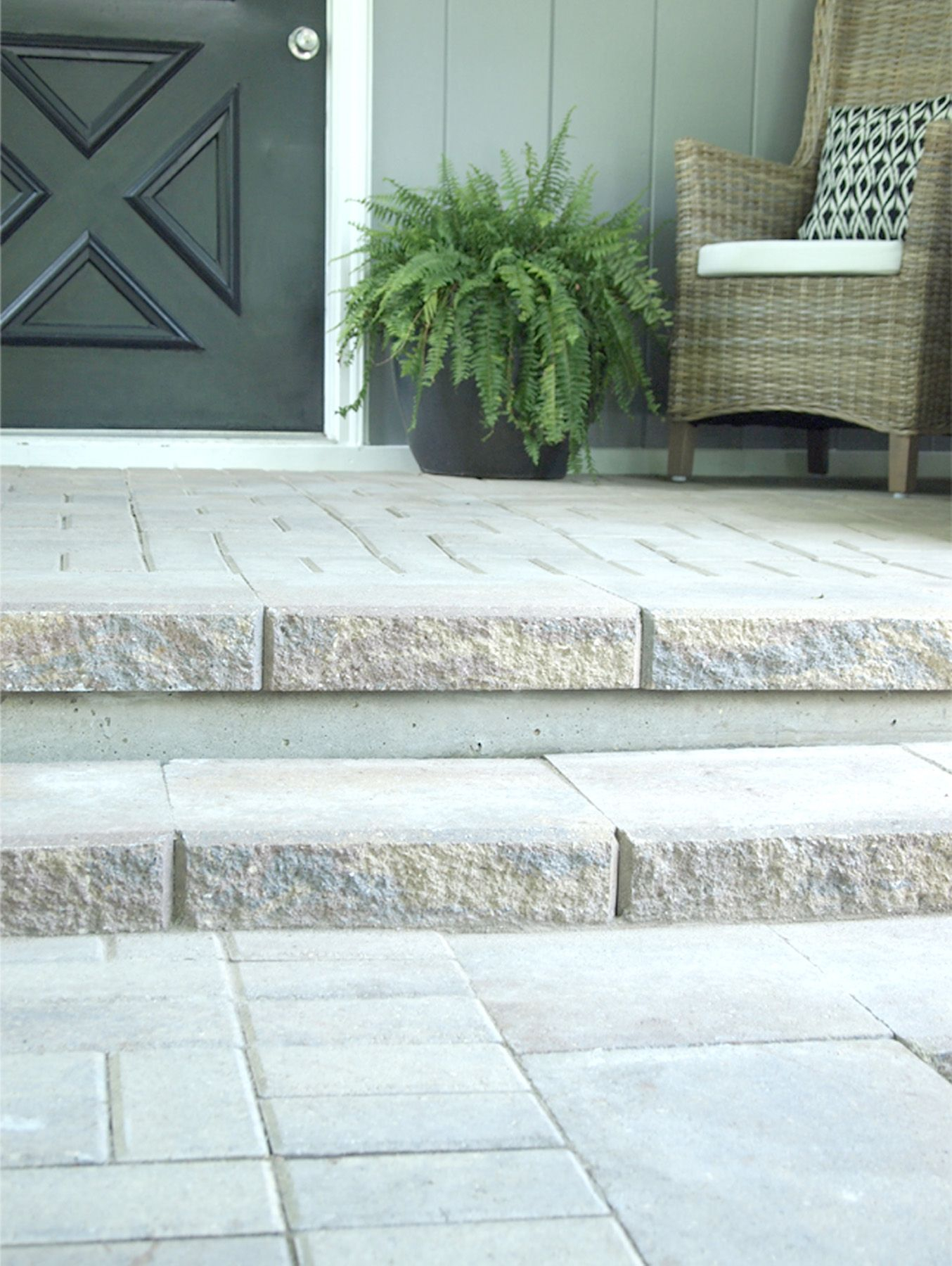 Paver Patio And Steps To Cover An Old Concrete Slab Architecture Throughout  Dimensions 1354 X 1800