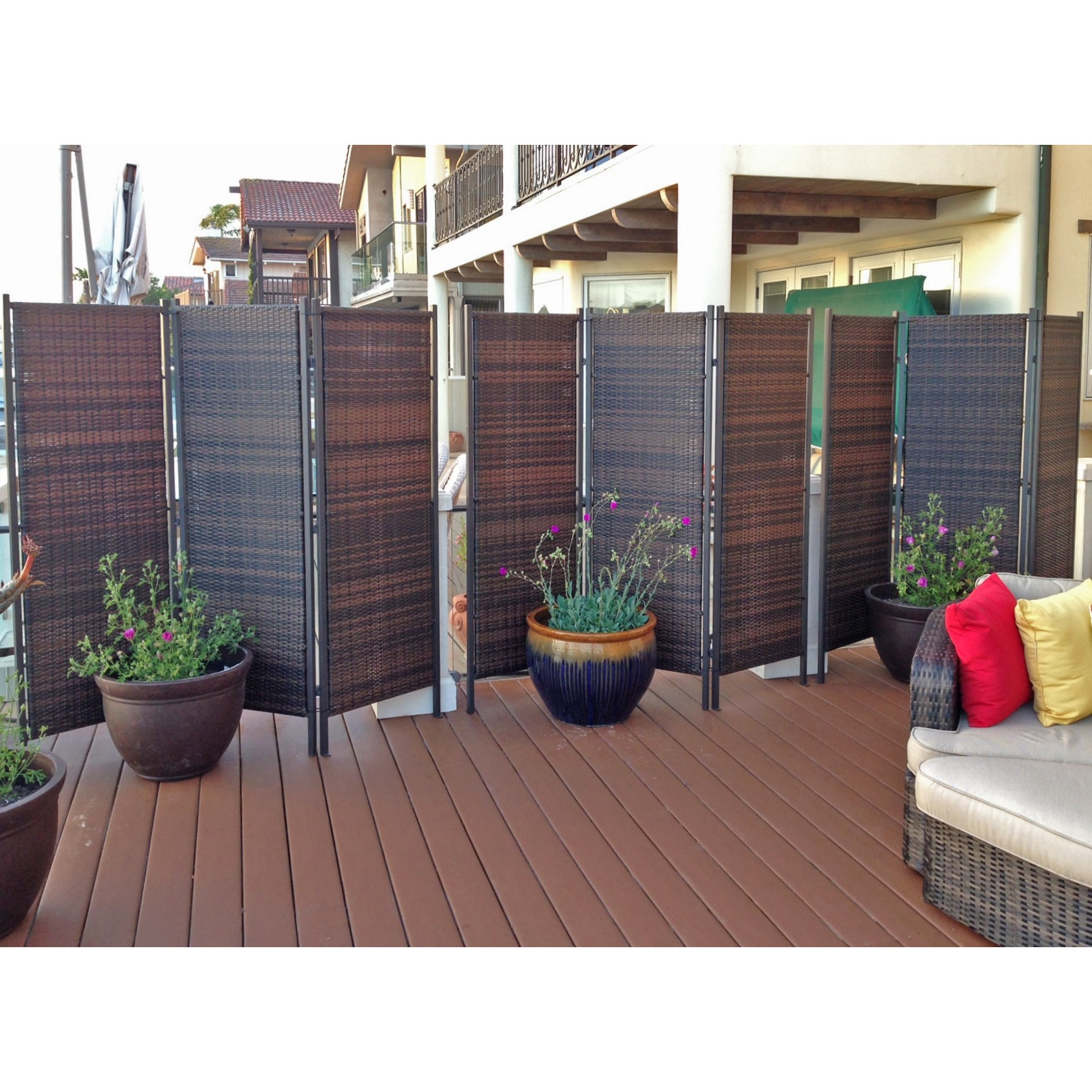 Portable Outdoor Wicker Privacy Parion For Backyards Not Pertaining To Measurements 1674 X
