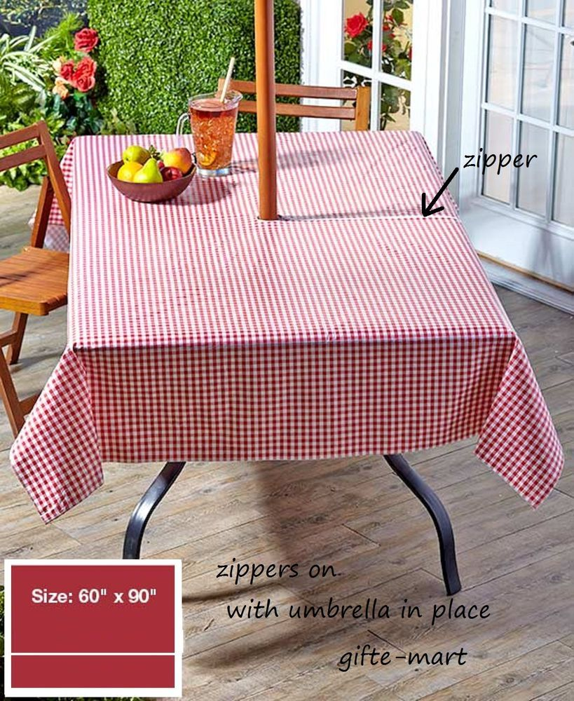 Red 90 Long Zippered Vinyl Umbrella Hole Table Cover Outdoor Patio pertaining to sizing 819 X 1000