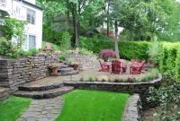 Tiered Patio Design Sloping Away From Home With Landscaping And Fire with sizing 3872 X 2592