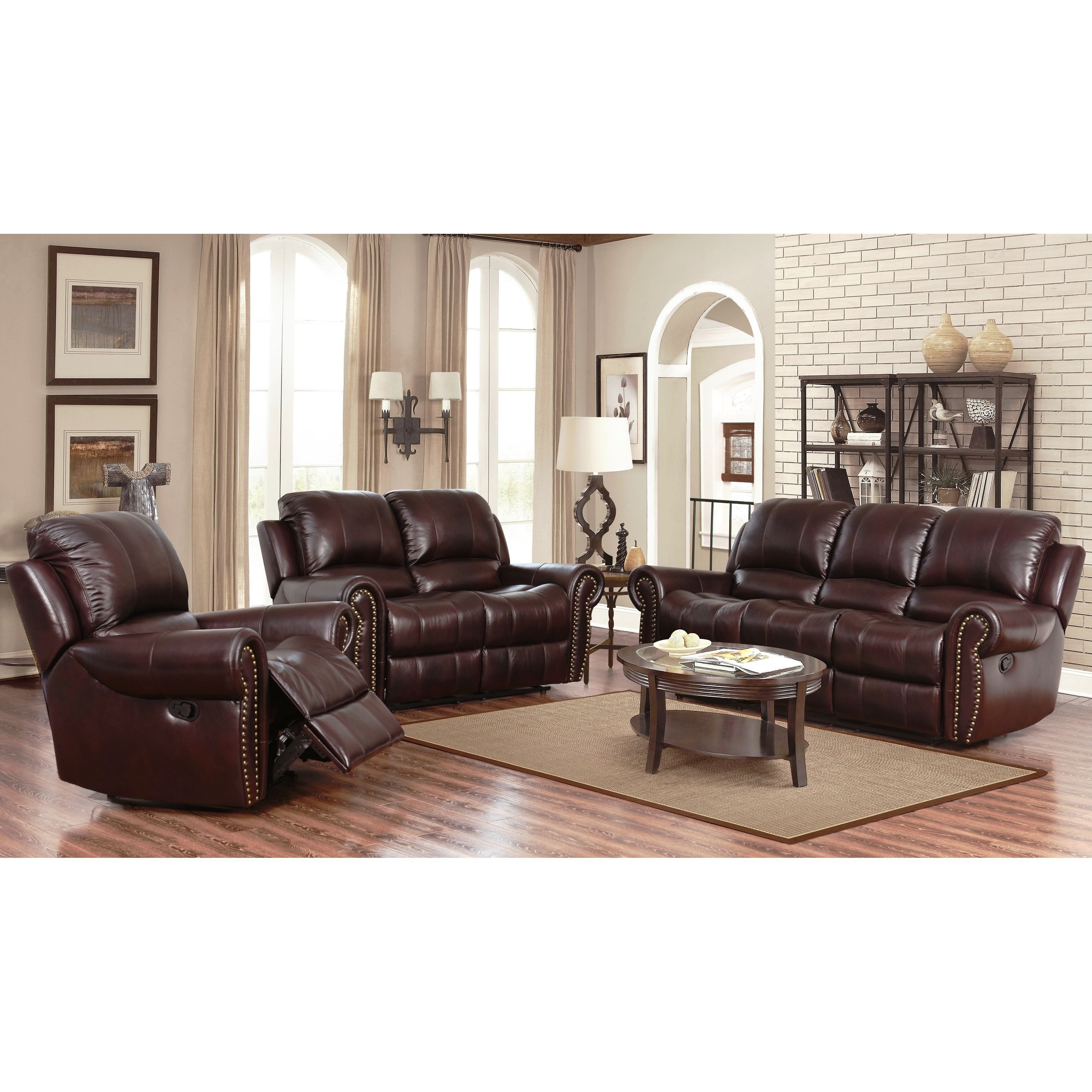 Abson Broadway Top Grain Leather Reclining 3 Piece Living pertaining to measurements 3241 X 3241