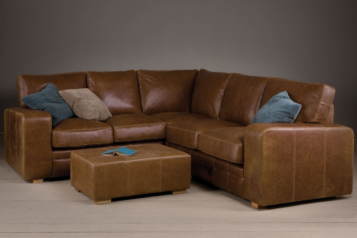 Broad Arm Leather Corner Sofa With A Footstool Leather intended for dimensions 1476 X 984