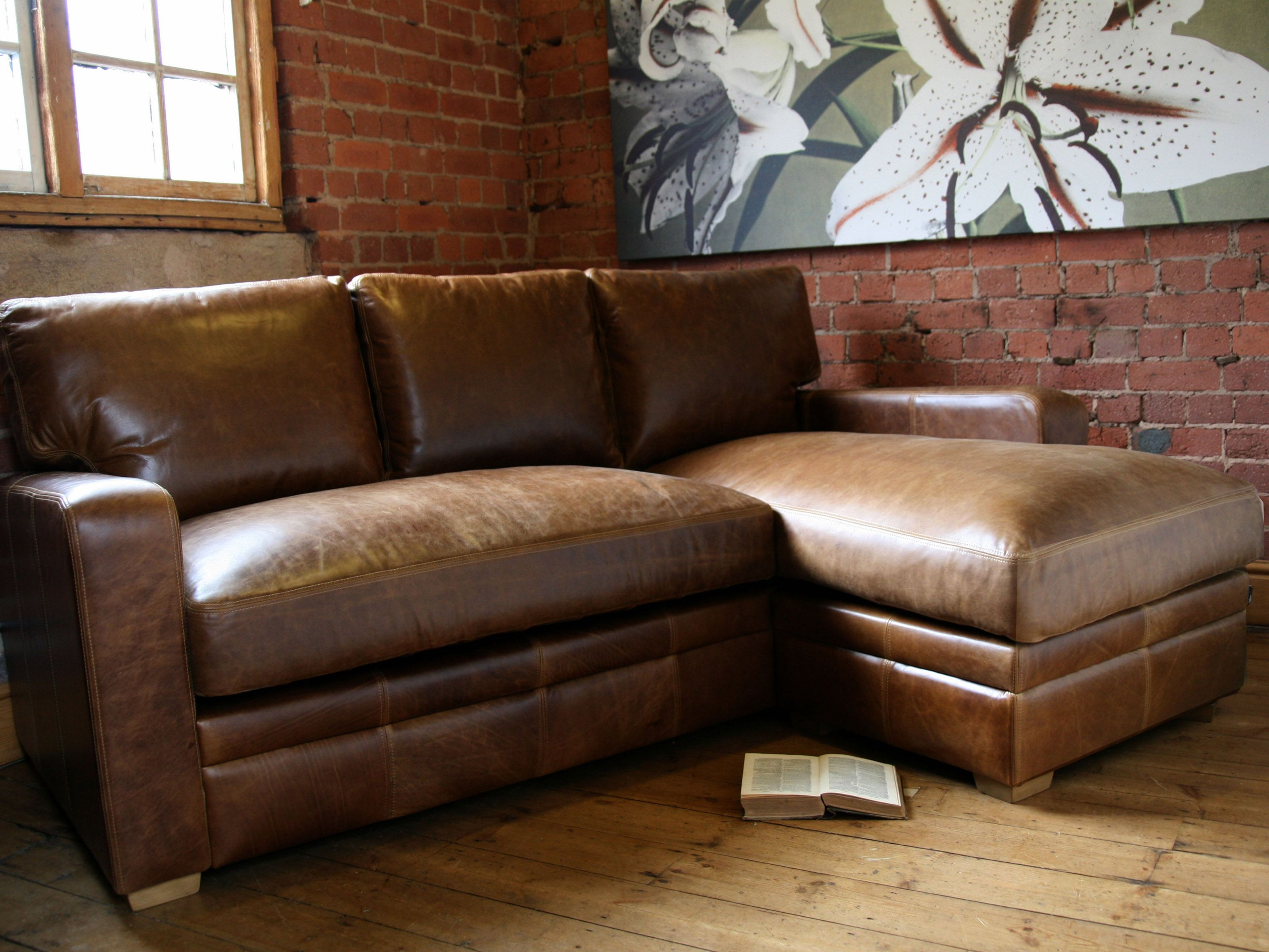 Brown Leather Sofa Sectional Sofa With Chaise Sectional within sizing 3200 X 2400