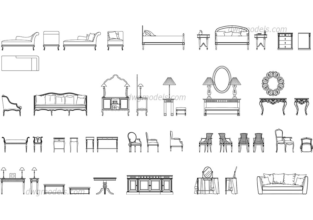 Classic Furniture Set Dwg Free Cad Blocks Download pertaining to proportions 1080 X 760