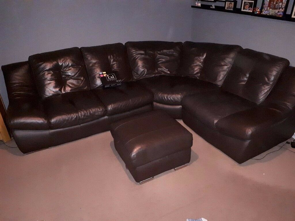 Csl Chocolate Leather Corner Sofa Storage Foot Stool Leather Care Kit In Burton On Trent Staffordshire Gumtree throughout measurements 1024 X 768