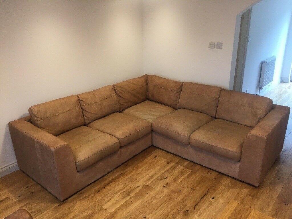 Debenhams Paris Medium Tan Leather Corner Sofa With Single Arm Chair In Pontyclun Rhondda Cynon Taf Gumtree inside sizing 1024 X 768