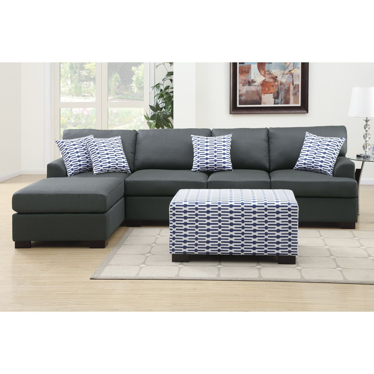 Farsund Large 2 Piece Blended Linen Sectional Sofa With intended for size 1200 X 1200