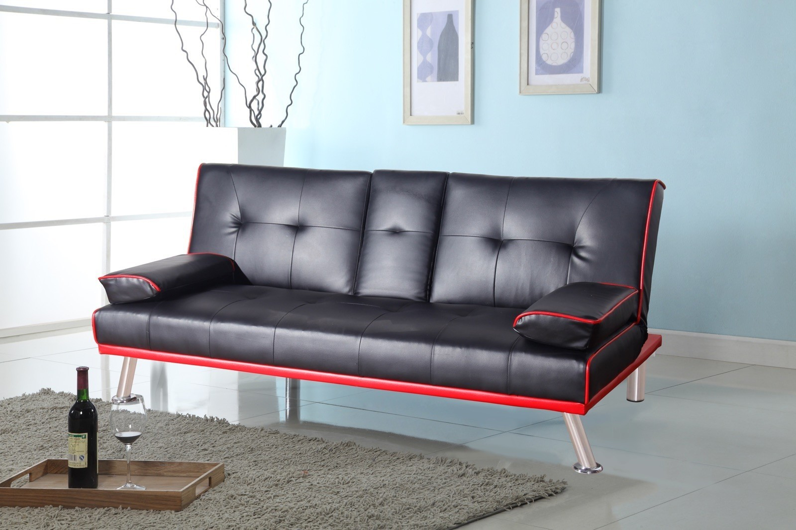 Faux Leather Sofa Bed Glasgow Uk within dimensions 1600 X 1067