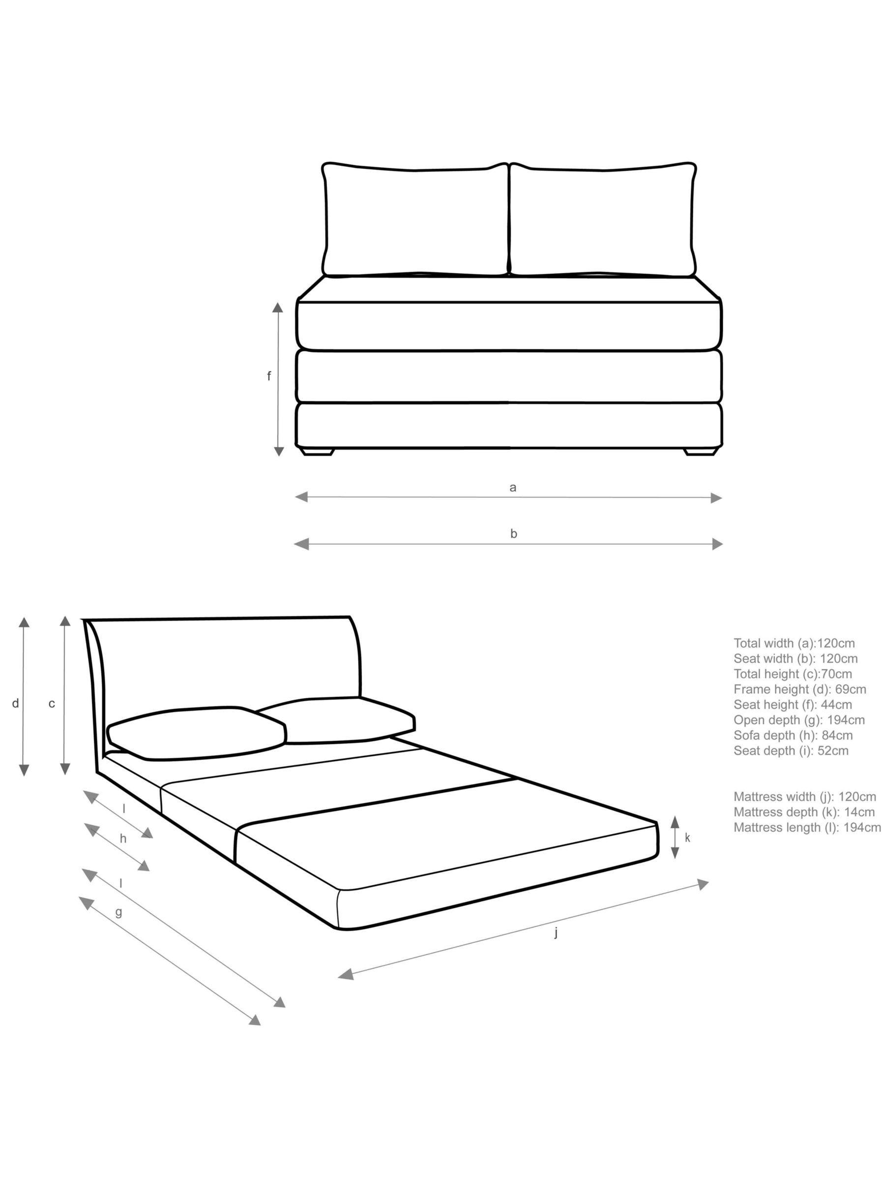 House John Lewis Kip Small Double Sofa Bed Light Leg inside dimensions 1800 X 2400