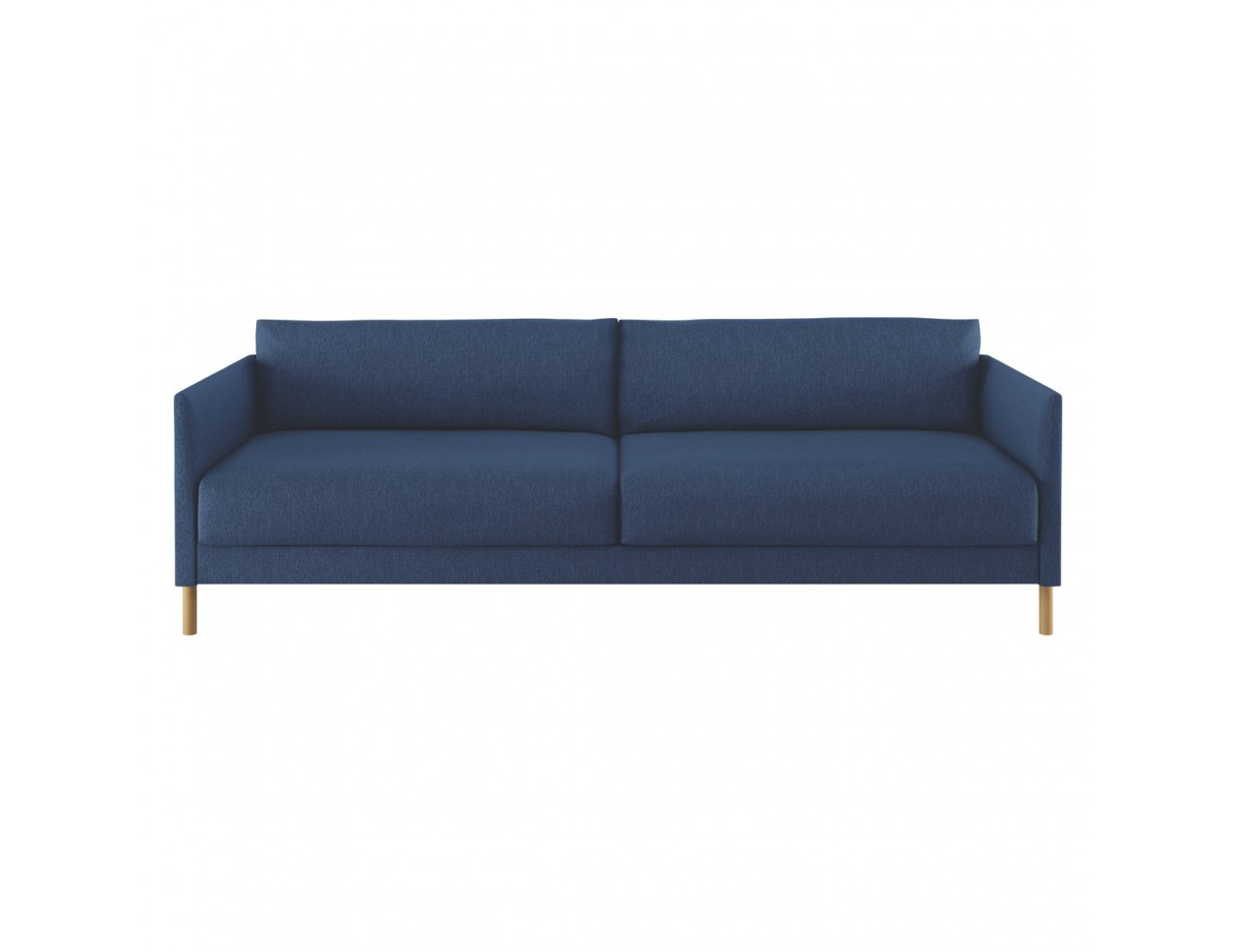 Hyde Blue Fabric 3 Seater Sofa Bed Wooden Legs intended for measurements 1200 X 925