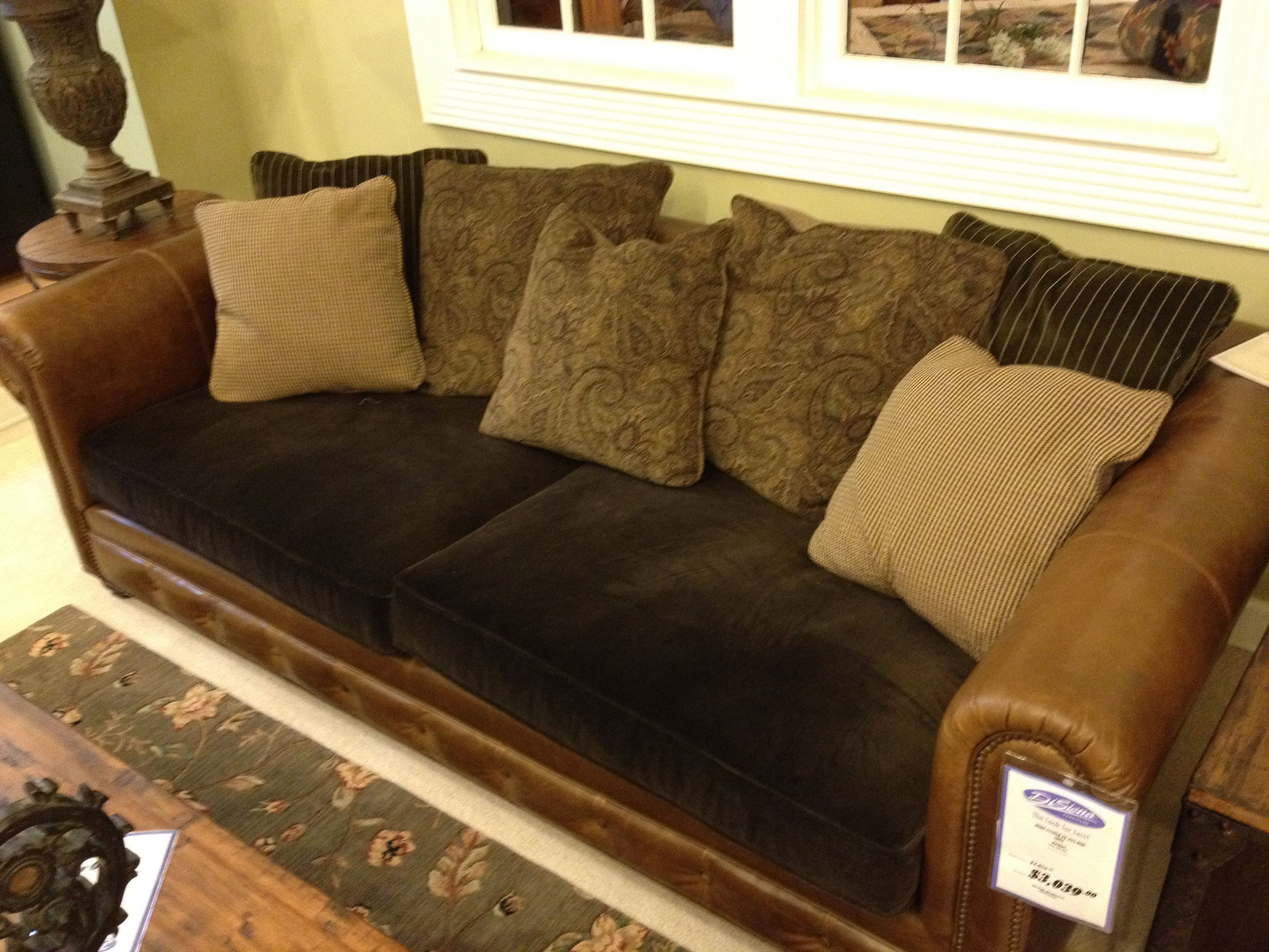 Leather Couch With Fabric Cushions Cushions On Sofa in proportions 3264 X 2448