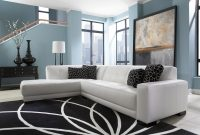 Living Room White Leather Couch Black Accents Blue Wall regarding dimensions 4000 X 3002