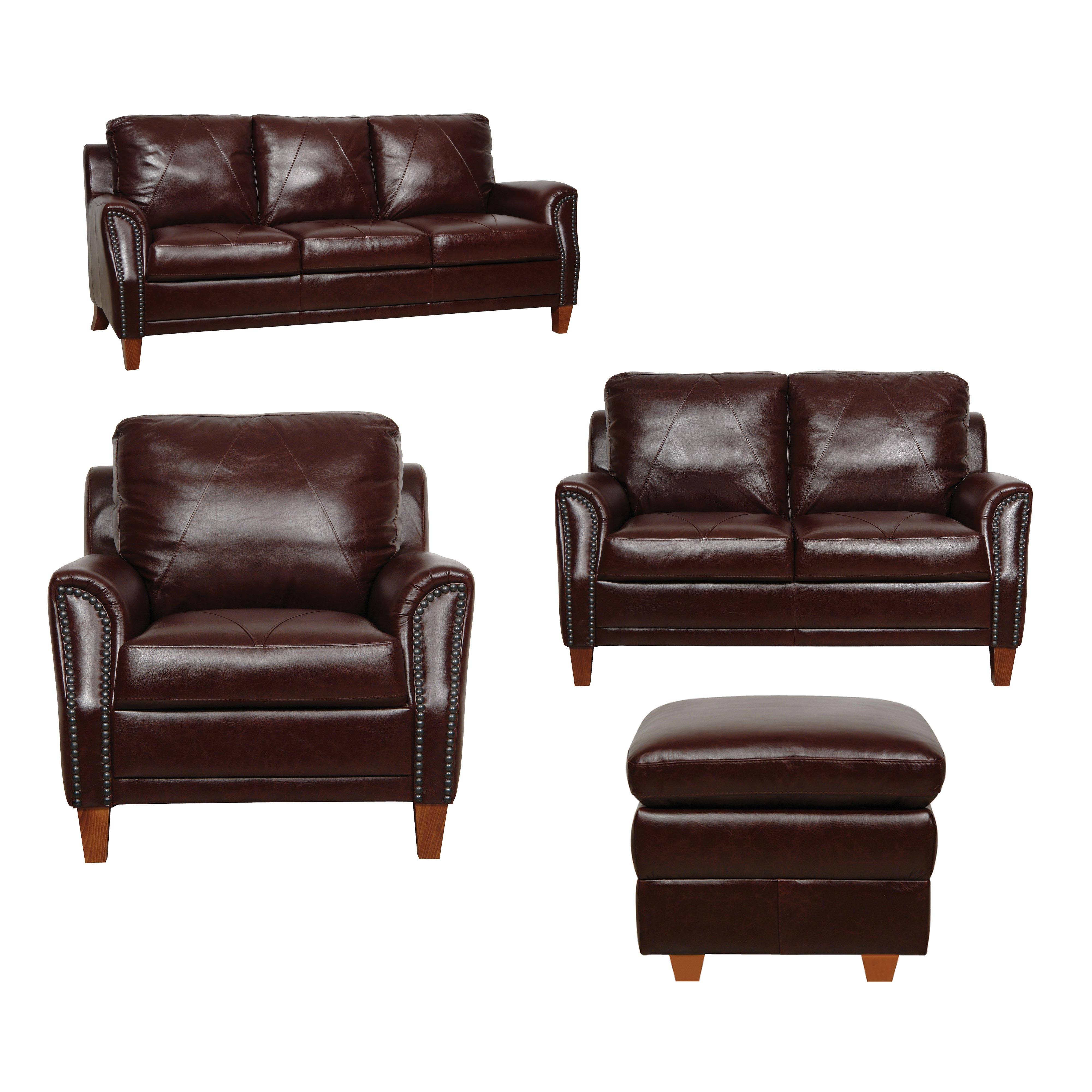 Luke Leather Furniture Austin Living Room Set In Dark Sienna regarding size 4000 X 4000