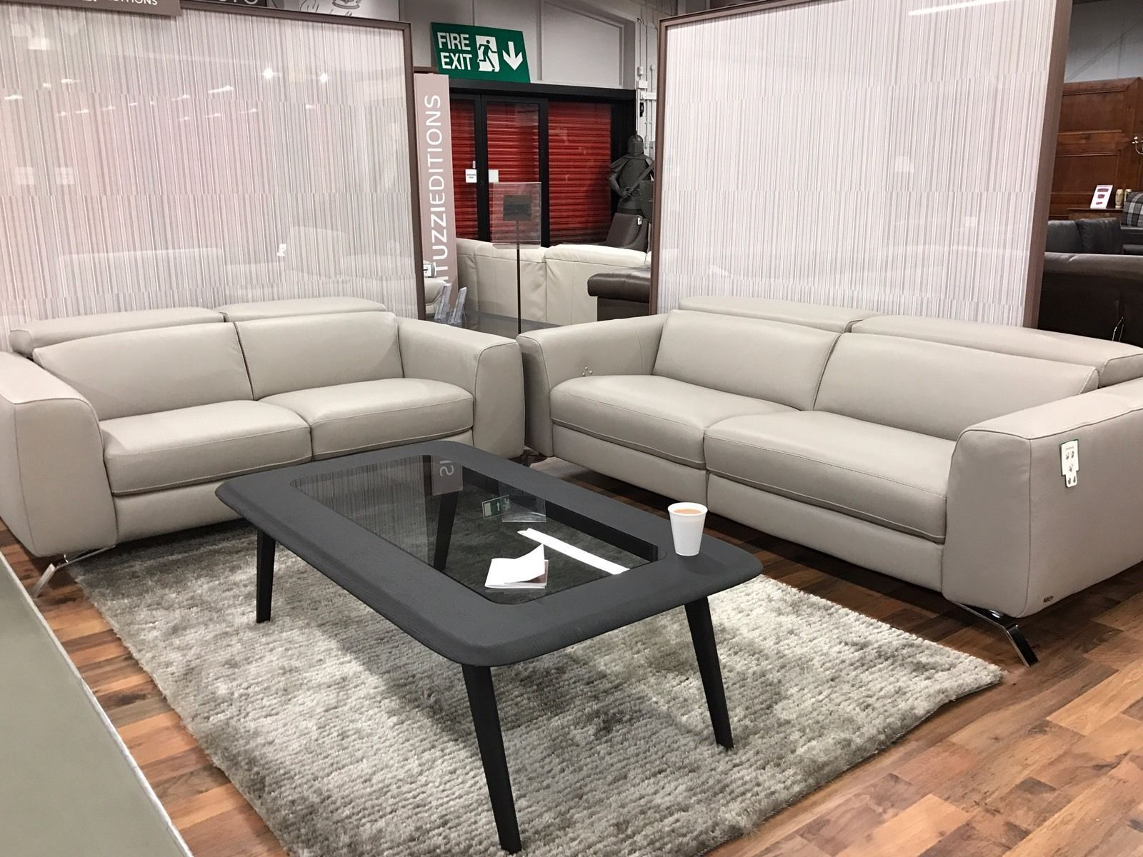 Natuzzi Editions Luca Grey Leather Power Reclining 3 2 Seater pertaining to sizing 1600 X 1200