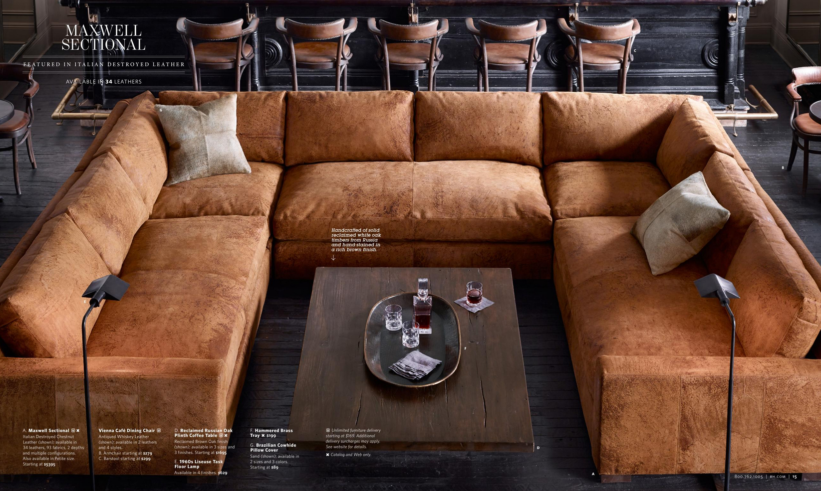 Restoration Hardware Sectional In Italian Destroyed Leather throughout measurements 1645 X 985