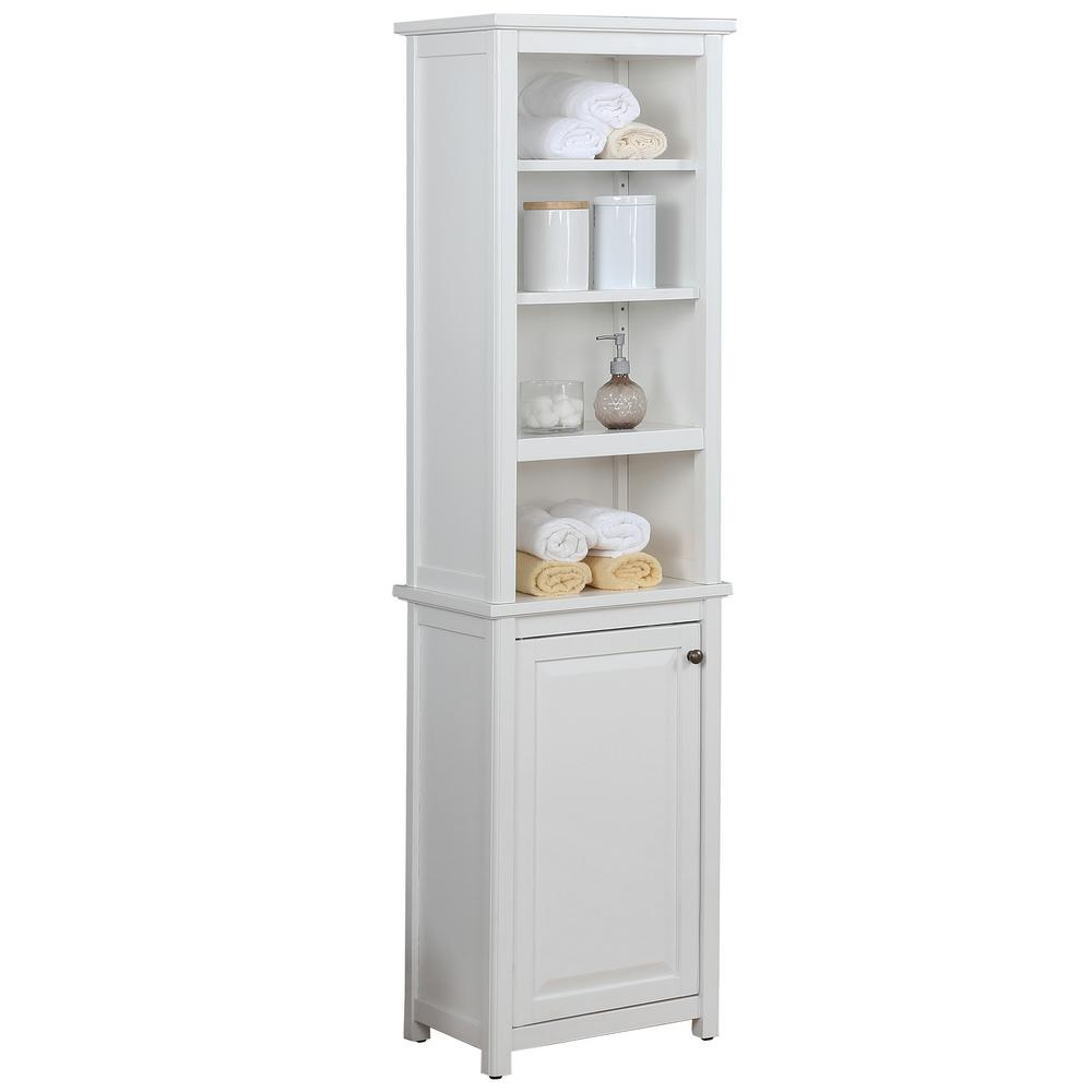 Alaterre Furniture Dorset Bathroom 17 In W Freestanding Storage Tower With Open Upper Shelves And Lower Cabinet In White pertaining to size 1000 X 1000