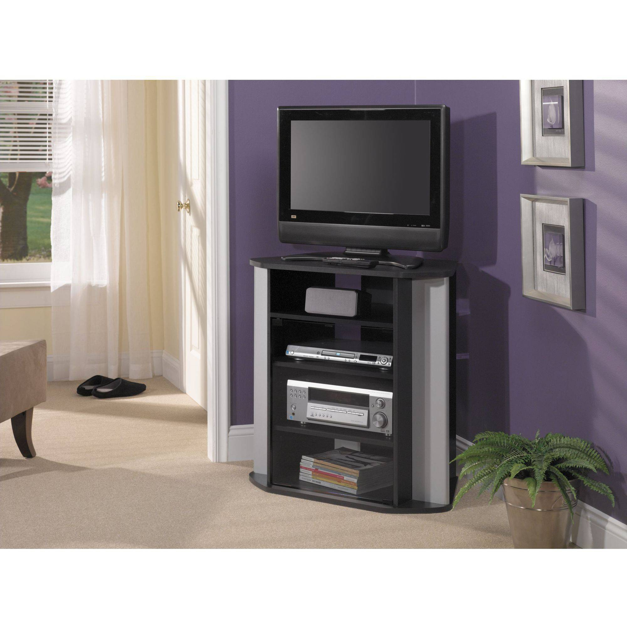 Bush Furniture Visions Tall Corner Tv Stand In Black And Metallic Walmart within measurements 2000 X 2000