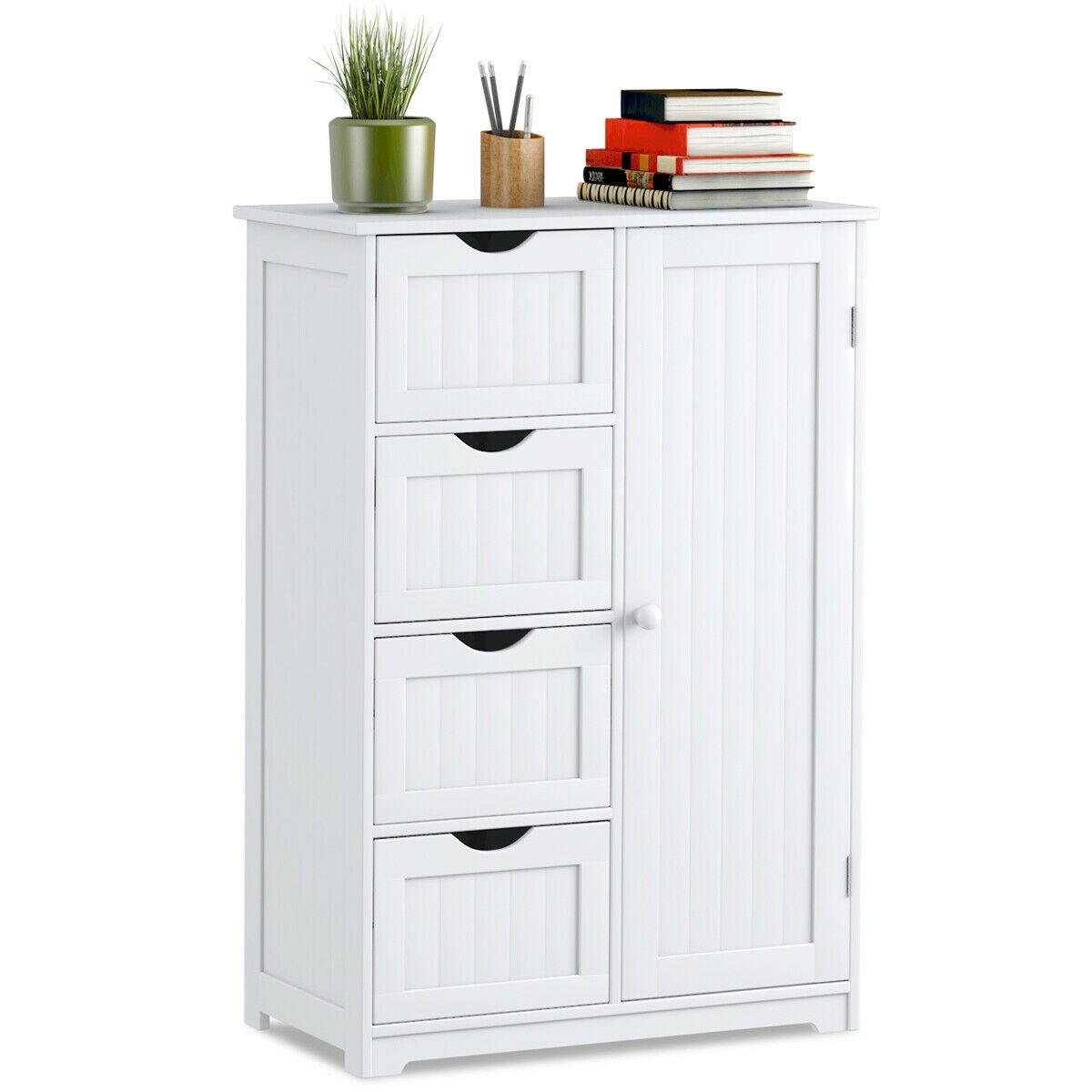 Costway Wooden 4 Drawer Bathroom Cabinet Storage Cupboard 2 Shelves Free Standing White with proportions 1200 X 1200