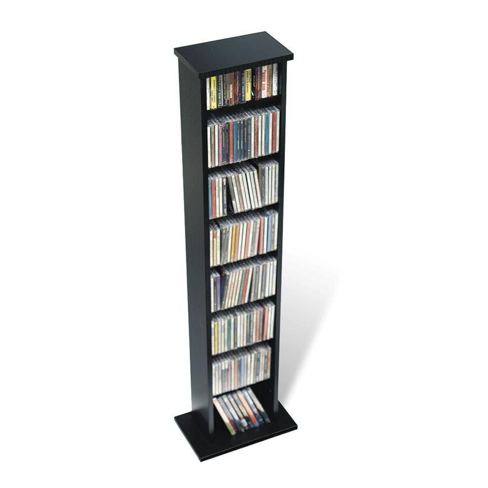 Slim Multimedia Storage Tower Oak And Black intended for dimensions 1000 X 1000