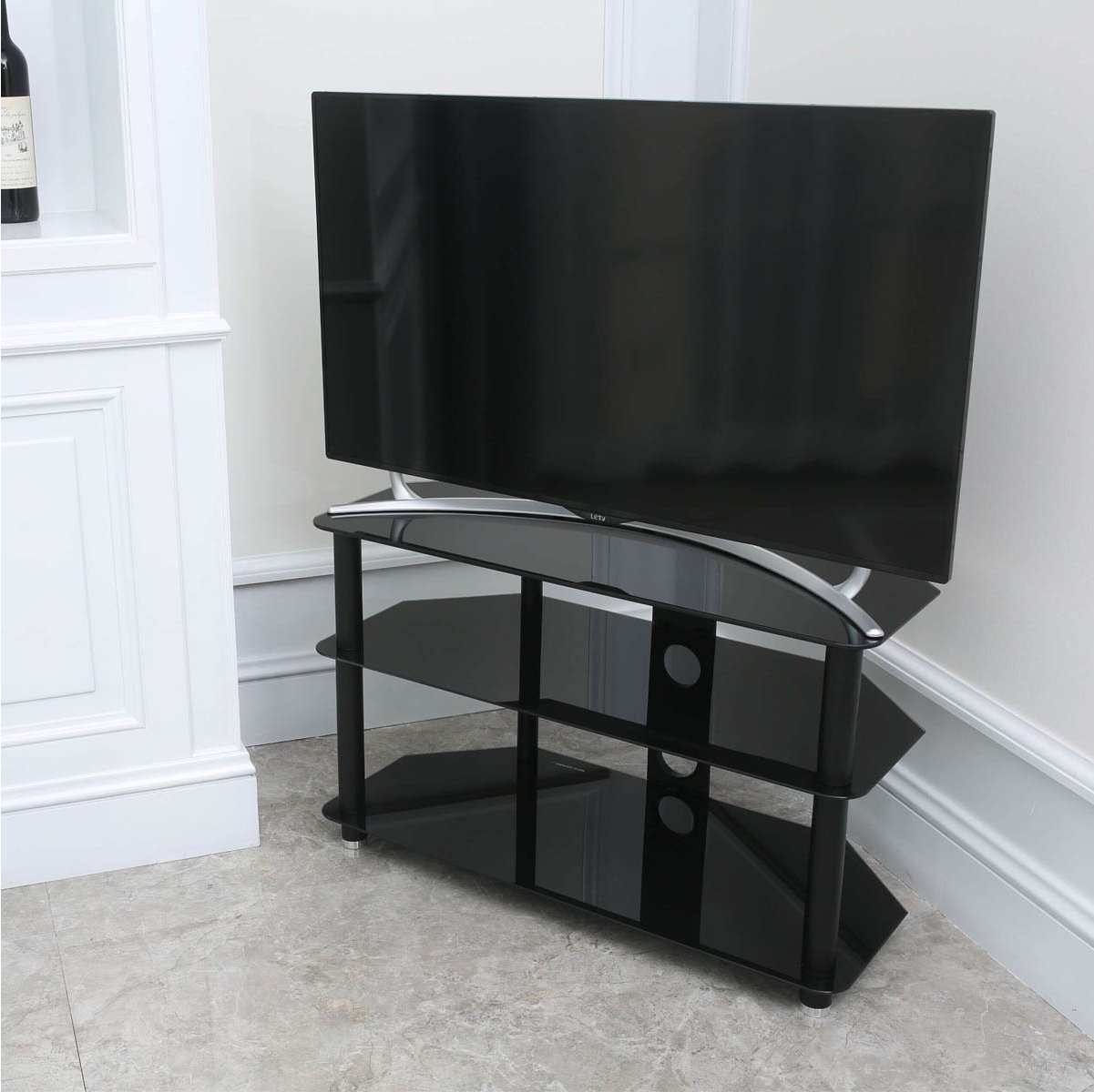 Stealth Mounts 1000mm Black Glass Tv Stand For Tvs Up To 50 Inch for proportions 1201 X 1200