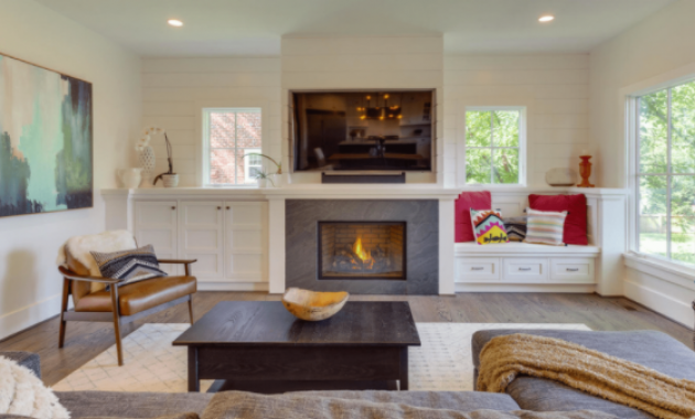 family room cabinets around fireplace