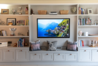 family room cabinets display